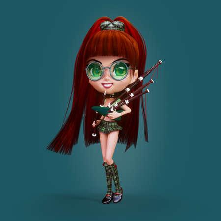 bagpipe: Cute cartoon Scottish Bagpiper