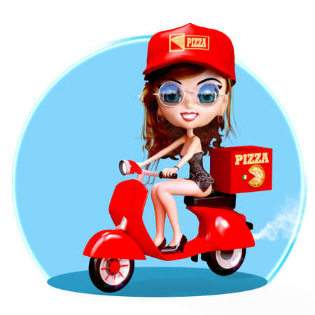 Cute cartoon Pizza delivery girl