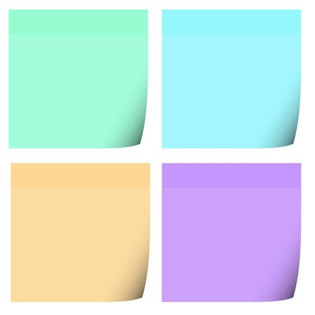 Four colored post it notes