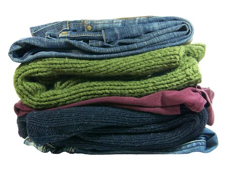 Pile of clothes isolated over white background Stock Photo