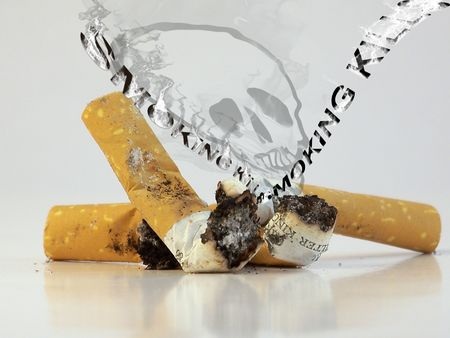 Smoking kills,photo plus illustration illustration