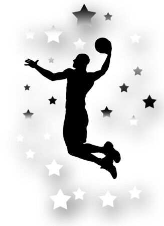 dunk: Silhouette of a basket player over background with black and white stars Stock Photo