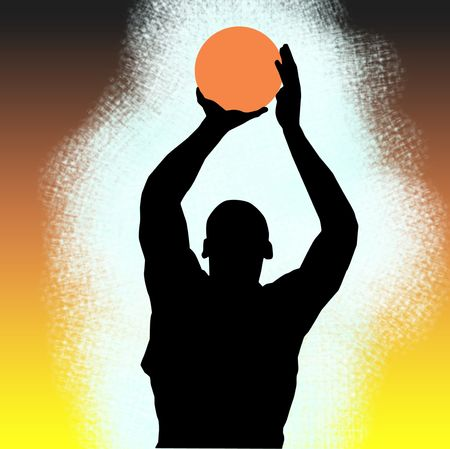 Silhouette aof a basketball player over colored background photo