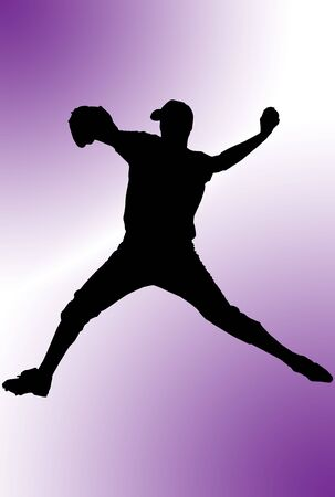 Silhouette of a baseball player over colored background Stock Photo - 2863617