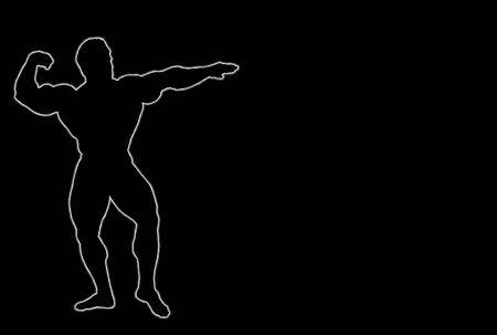 pumped: Glowing silhouette of a body builder over black