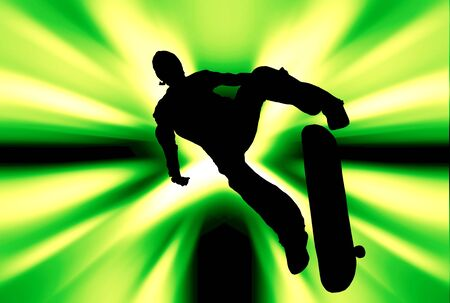 Silhouette of a skateboarder over abstract background Stock Photo