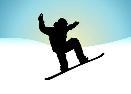Silhouette of a snowboarder over abstract mountains background photo