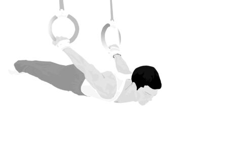 Illustration of a man doing gymnastic routine on the rings
