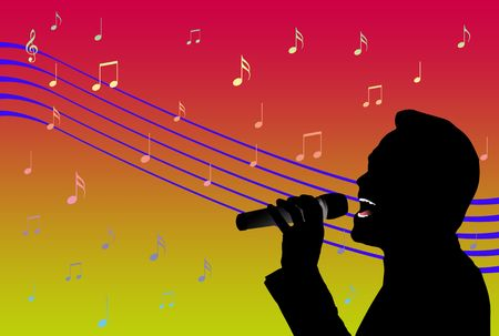 Silhouette of a singer over colored background