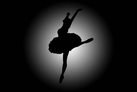 flexibility: Sulhouette of a woman dancing over black and white background Stock Photo