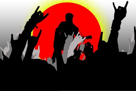 Illustration of a rock concert with people wawing hands