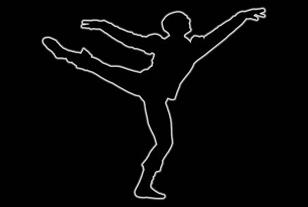 male ballet dancer: Glowing silhouette of a male dancer over black background Stock Photo