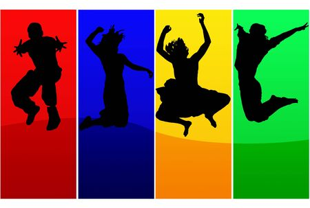 exaltation: Silhouettes of jumping people over colored background frames
