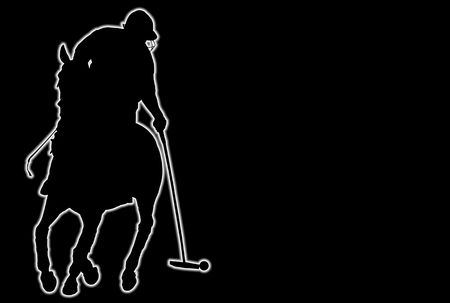 Glowing silhouette of a polo player over black background