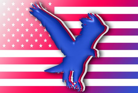 Siluetas de color de las águilas más bandera americana  Foto de archivo - 3143611