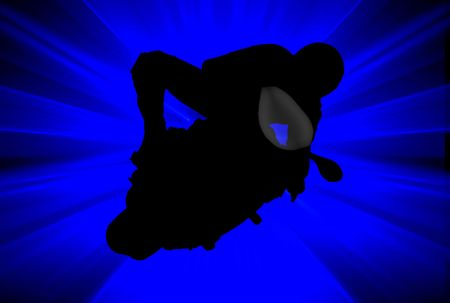 Silhouette of a biker over abstract blue background