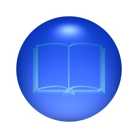 Round transparent guestbook icon button over blue