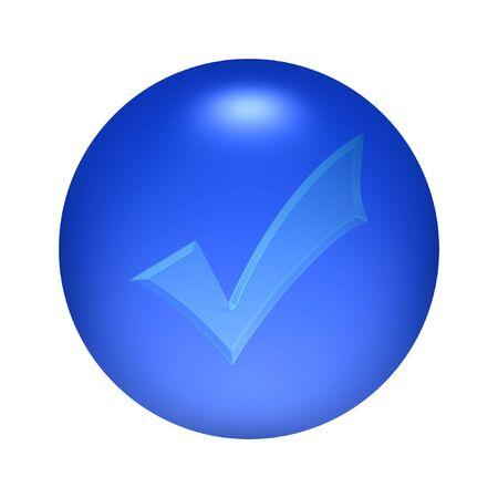 Round transparent round tick button icon over blue