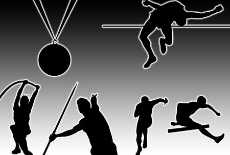 Glowing silhouettes of sporting men and medal over black background photo