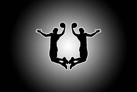 Glowing silhouette of basket players over black and white background