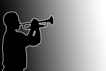 fingering: Glowing silhouette of a trumpet player over black and white background