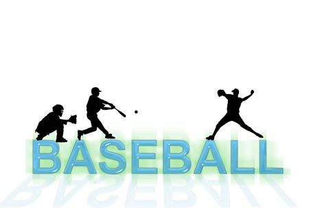 Baseball wallpaper with silhouettes and writing over white photo