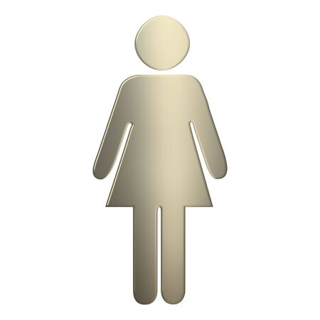 genders: 3d gold female symbol over white background