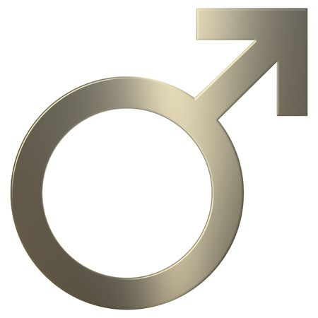 human gender: 3d gold male symbol over white background Stock Photo
