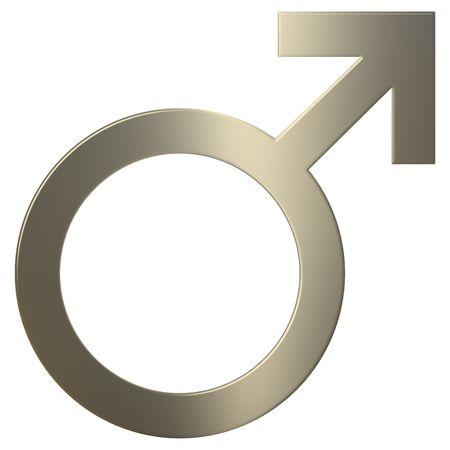 3d goud mannelijk symbool over witte achtergrond Stockfoto