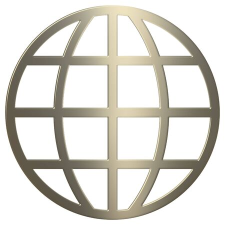 3d gold www symbol over white background