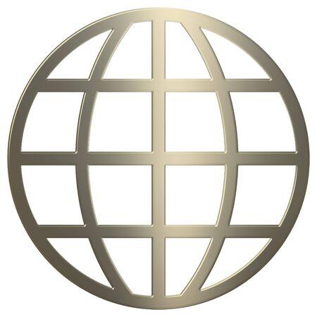meridiano: 3d oro www símbolo más de fondo blanco  Foto de archivo