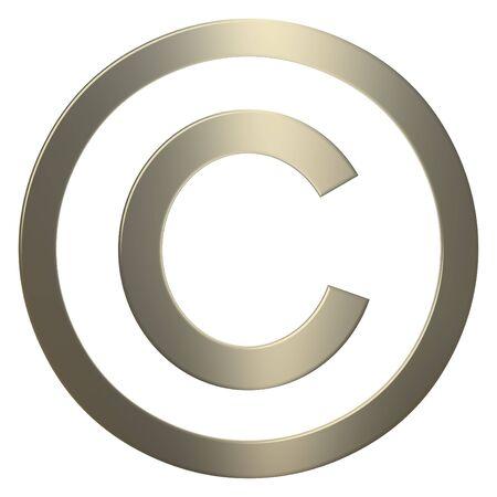 Gold 3d copyright symbol over white background