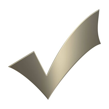 Gold 3d tick sign over white background