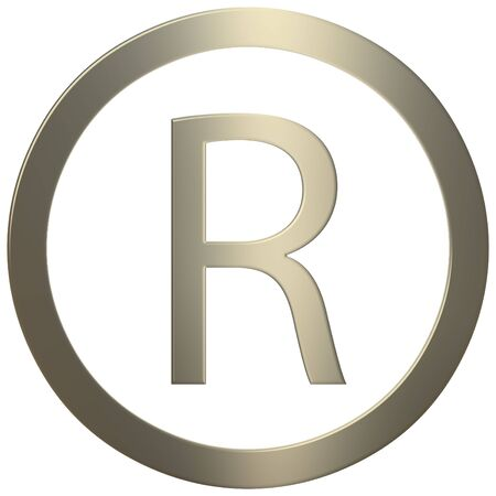 3d gold R symbol over white background photo