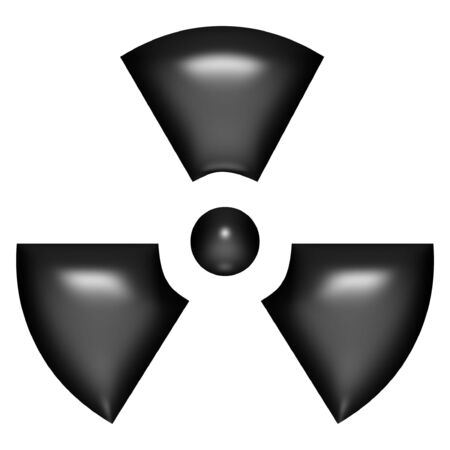 radioactive sign: 3d black balloon radioactive sign over white background
