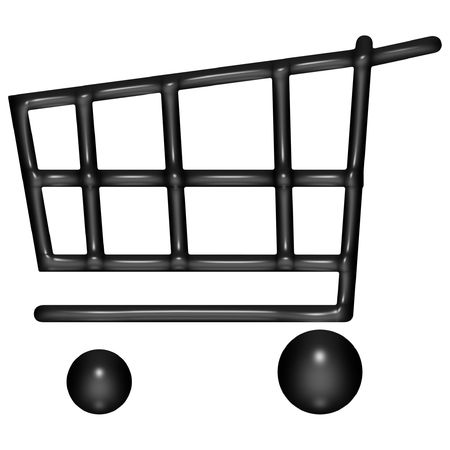 3d black balloon shopping cart over white background photo