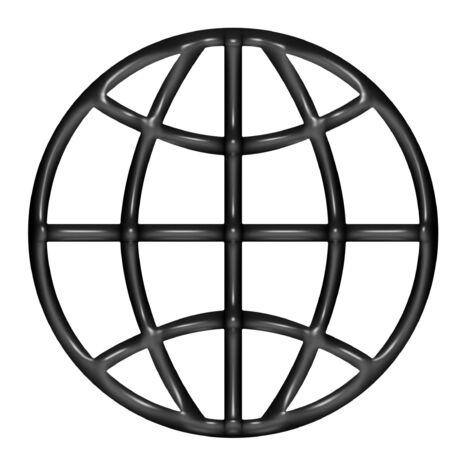 globe logo: 3d black balloon WWW over white background
