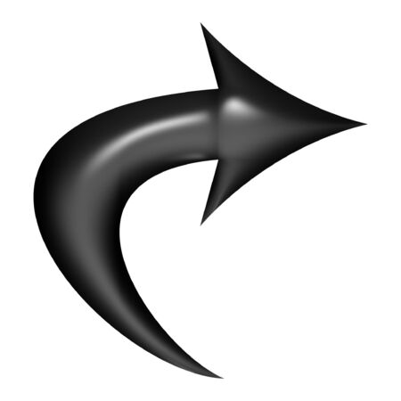 bevel: 3d Black balloon curved arrow over white background