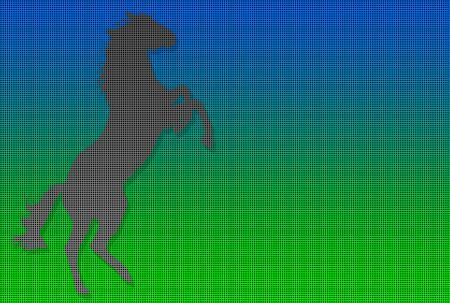 rampant: Dotted silhouette of a rampant horse over colored background Stock Photo
