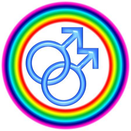 amor gay: Gay amor 3d logo circular en blanco