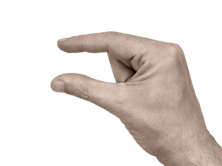 Pinching hand gesture isolated over white background Stock Photo