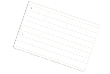 looseleaf: Torn lined paper with holes over white background