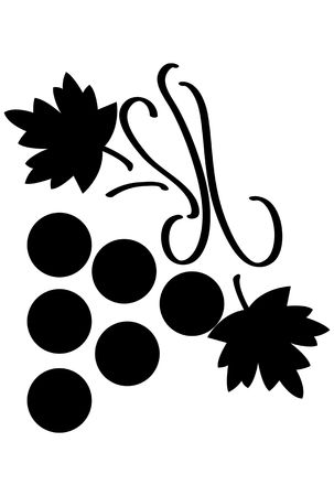 Bunch of grapes with leaves stylized over white background