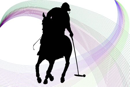 Polo player silhouette over white background with colored lines