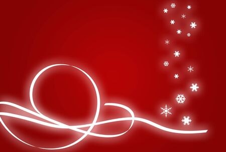 Christmas illustration with swirls and snowflakes over red background