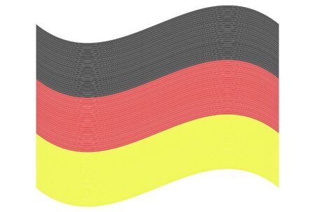 nationalist: Waving German flag made of lines over white background