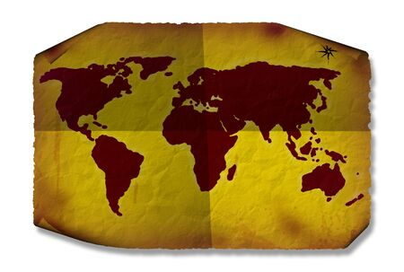 creases: Grunge world map with dirt creases curls and crumples Stock Photo