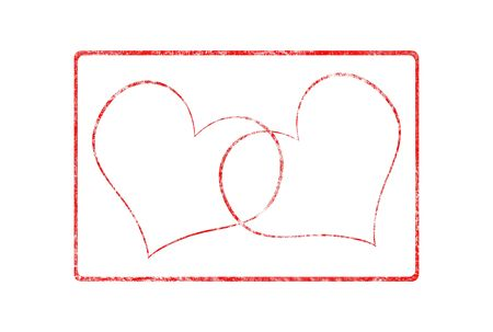 Grunge Valentine rubber stamp with two hearts over white background photo
