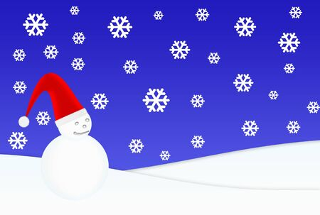 Snowman with Santa's hat under snowfall Stock Photo - 3925618