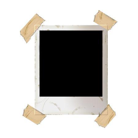 cintas: Grunge edad Polaroid pegado con cinta adhesiva sobre fondo blanco